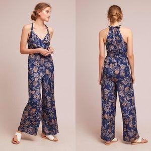 NWOT Anthropologie Blue Paisley Print Jumpsuit